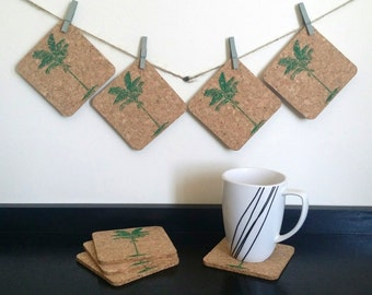 Palm Tree Coasters - Tropical Coasters - Cork Coasters - Wedding Favors - Party Favors - Event Favors - Bulk Orders (25+ Pieces)