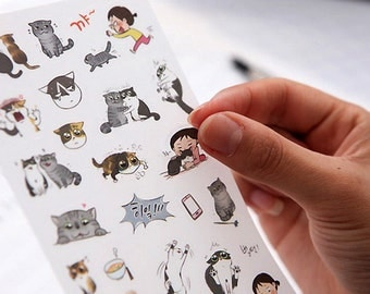 Translucent Deco Sticker Set - Life with Cat - 6 Sheets