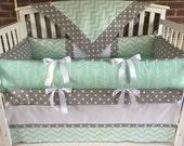 Crib bedding set 4 PC, mint/ gray deer  reserved for Amanda