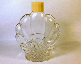 Vintage SHELL Shaped GLASS PERFUME Bottle / Empty / Plastic Lid / Vanity Dresser / Beach