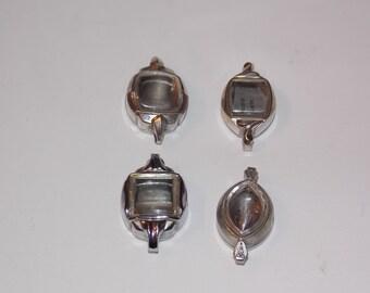 4 Vintage Silver Ladies Watch Cases