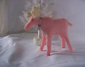 Pink Felt Moose Ornament