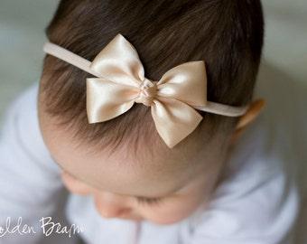 Peach Baby Bows - Flower Girl Headband - Peach Like a Butterfly Satin Bow Baby Handmade Headband - Baby to Adult Headband