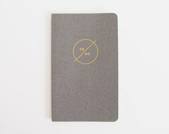 TO DO List Notebook / Journal in Gold on Gray