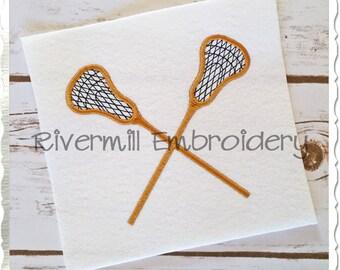 Crossed Lacrosse Sticks Machine Embroidery Design - 4 Sizes