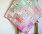 Pram quilt, baby girl quilt cot stroller quilt, pink green peach, baby shower gift, wallhanging