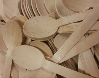 Eco-Friendly Wooden Disposable Spoons (50)