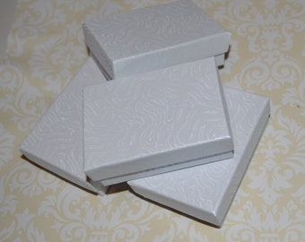 Cotton Filled Jewelry Boxes Lot of 4 Boxes White 2 by 3 Inch Boxes Discount Supplies