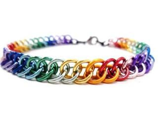 Rainbow Bracelet Chainmail Jewelry Gay Pride