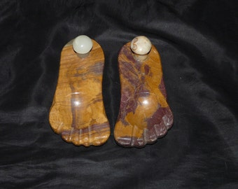 Vintage Alabaster Feet Brown White Rock Foot Ashtray Set Ring Holders Garden Porch Decor
