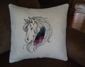 Horse Burlap Envelope Pillow Cover Western 14 By 14 Size Pretty Feathers Machine Embroidered Grannies Embroidery