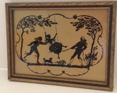 Vintage Victorian Colonial Silhouette Framed Picture Art Romance