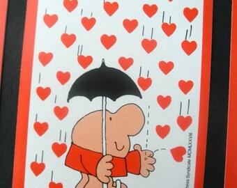 Vintage Playing Cards Ziggy Tom Wilson Raining Red Hearts Love Umbrella Trading Cards Scrapbooking Assemblage Card Making 70s Paper Ephemera