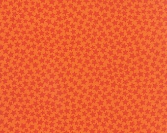 MIDNIGHT MASQUERADE orange star on orange tonal cotton print 1/2 yard Moda fabric HALLOWEEN 19728-11