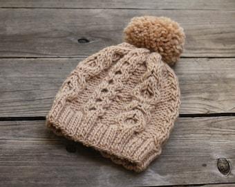 Knit hat women hat with pompom tan beige winter accessories