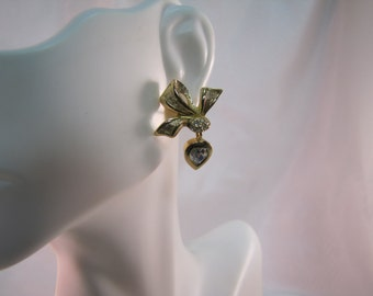 c1980's Christian Dior Gold Bow Earrings, Dior Wedding Earrings