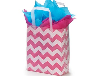 12 Plastic White CHEVRON Zig Zag Frosted Retail Gift Bags TOTES with Handles (Free Shipping!)