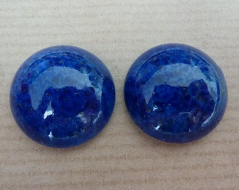 2 glass cabochons, Ø20mm, lapis lazuli blue, marbled, round