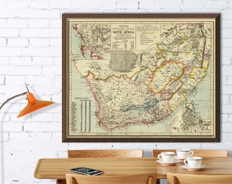 South Africa map - Old map of South Africa archival reproduction
