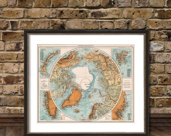 North Pole map - Vintage map of North Pole archival reproduction