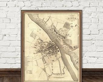 Map of Perth  (Scotland) - Fine archival print - Perth map