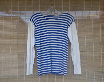 Vintage1970's Original Navy Sailor Blue and White Stripes T-shirt Long Sleeves Size XS
