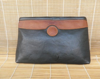 Vintage Two Tone Black Faux Leather Clutch Zip Up Top Bag