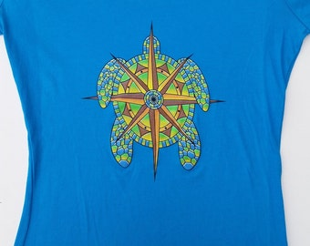 SALE Ladies Terrapin Station tee in turquoise - Grateful Dead and Company CO / Jerry Garcia inspired - sea turtles Deadheads
