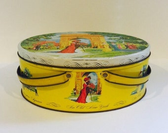 Vintage Mid-Century Washington Square Park NYC Collectible Tin - Yellow Vintage Large Storage Tin with Handles