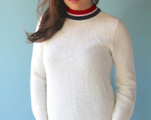 Red, White and Blue Mock Turtleneck 1960's Lightweight