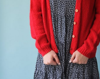 Red Bouclé Cardigan 1960's