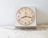Vintage Telechron Clock - Vintage Wall Clock Mid Century Schoolhouse Clock Telechron Square Retro Minimal Hanging Desk Office Madmen