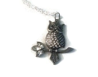 Owl on branch rhinestone necklace long silver tone