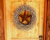 Primitive Door Wreath-Rustic BARN STAR Wreath-Primitive Country Home Decor-LARGE Grapevine Wreath-Texas Star-Western Home Decor-Gifts