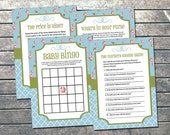Shabby Chic Baby Shower Games INSTANT DOWNLOAD Printable - DIY Blue Green Bingo Games