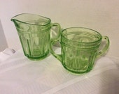 Green Depression Glass Colonial Knife and Fork Sugar and Creamer Hocking Glass