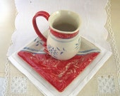 Hand built Stoneware Demitasse and Saucer Set, Tea Cup, Espresso Cup, Irish Coffee Cup, Bright Red, Soft White, Lace Textured