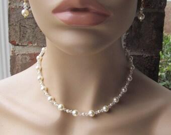 Wedding Jewelry Set Ivory Swarovski Crystal Pearl Bridal Jewelry Set
