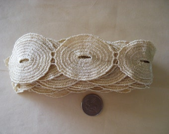 Venice Lace Embroidery Trim 1 3/4 Inches Wide In Ivory Color.