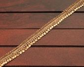 Antique Gold Toned Silk Fabric Trim Studded with Stones-Sari Border-Sari Fabric-Silk Fabric Trim-Crazy Quilt Trim-Silk Ribbon A20016