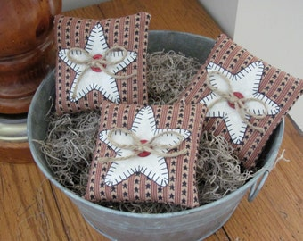 4th of July Bowl Fillers Homespun Fabric Ornies Patriotic Shelf Pillows Appliqued Stars/Buttons Jute Bows Star Tucks Three Homespun Pillows