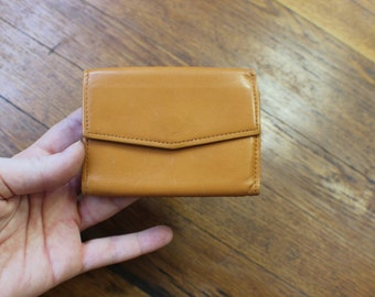 Leather Mini Wallet / Light Brown Tri Fold Coin Purse / Vintage Wallet