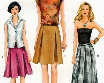 Very Easy UNCUT Vogue Pattern 7308 - Misses A-line Skirt with Pleat Variations - 14-18