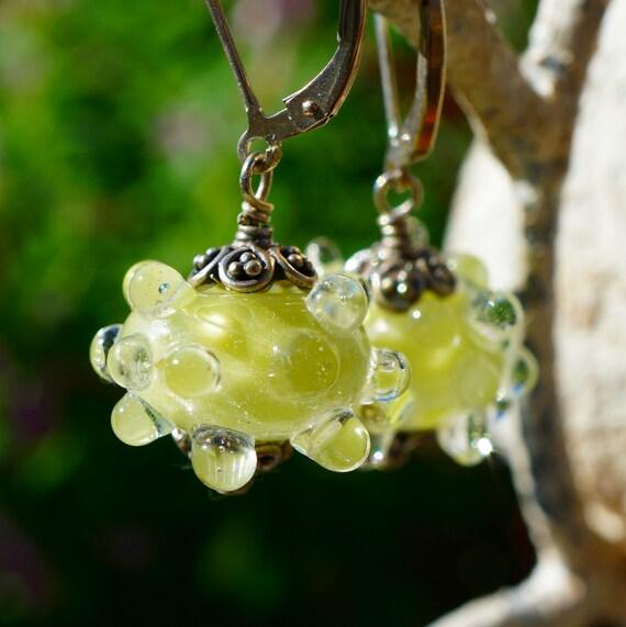 Green Bumpy Lampwork Silver Earrings