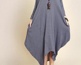 Women Loose Fitting long dress asymmetry Robe
