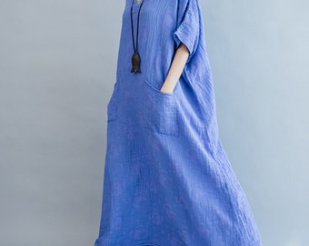 Cotton Loose Fitting Maxi Dress oversized loose Short sleeve long dress