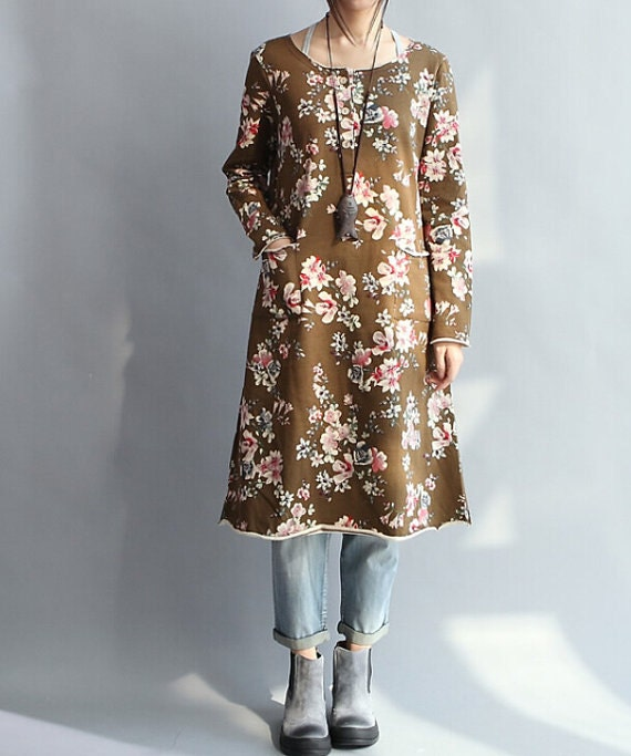 coffee color Loose Long sleeved Long dress/ Fashion large size maxi dress