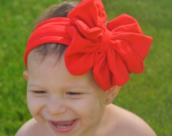 Red Bow Headband - Red Floppy Bow - Messy Bow Head Wrap - Big Red Bow
