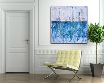 "blue Abstract painting acrylic painting art painting 36"" large canvas wall art home office interior bedroom decor palette knife custom visi"