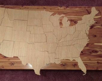 Handcrafted Wooden Lower 48 United States of America Puzzle (831-48)